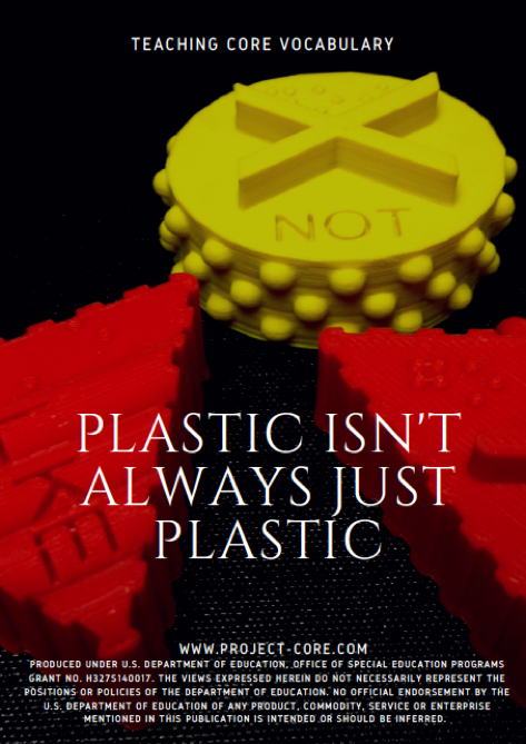 plastic isn't always plastic poster with photographs of the 3d symbols for not, like, and go