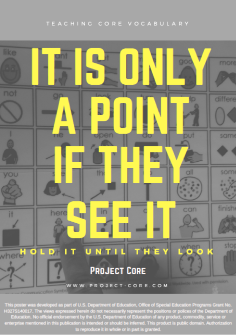 it is only a point if they see it hold it until they look poster