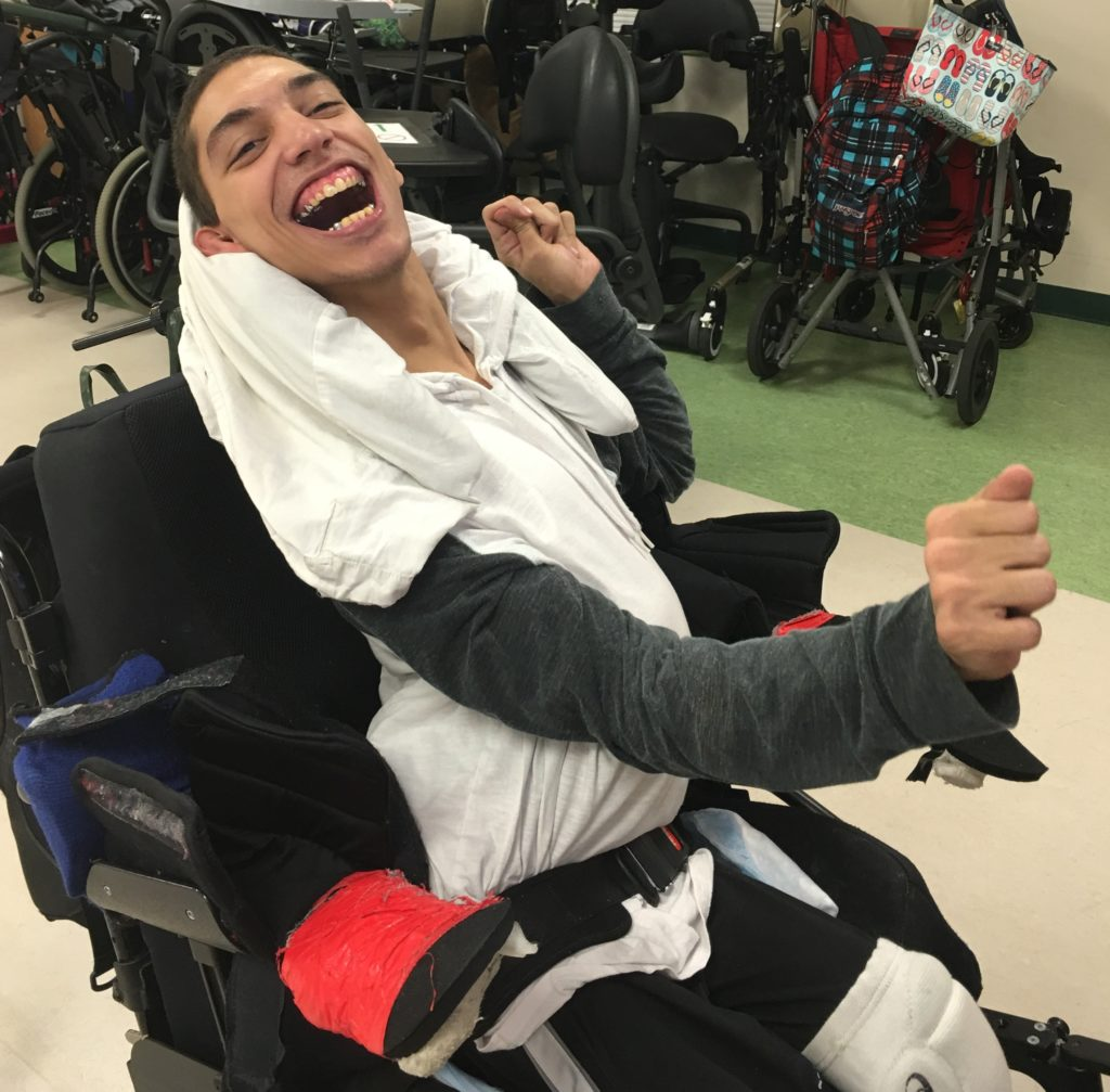 A student in a wheelchair.